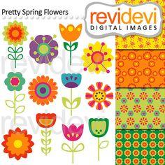 Retro Flower Clipart Clip Art, Vintage Flower Clip Art Clipart ...