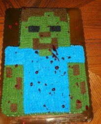 my son, seth's, 10th birtday cake. minecraft zombie