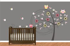Swirly Tree Owl and Birds Tree Decal - Children's Bedroom and Playroom Wall Decal - Owl Decor. $125.00, via Etsy.