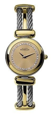 Michel Herbelin Ladies Champagne Dial Two Tone Cable Watch 17420/BT63