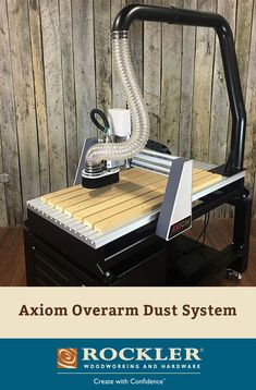 Axiom's overarm dust collection attachment pairs a rigid welded 4'' duct with a flexible hose that lets your gantry move freely across its full range of motion.