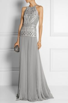 J Mendel | Embellished pleated silk-chiffon gown | NET-A-PORTER.COM