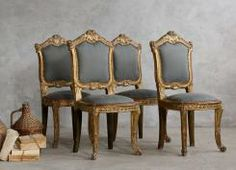 Set of 4 Vintage Louis XV Style Side Chairs