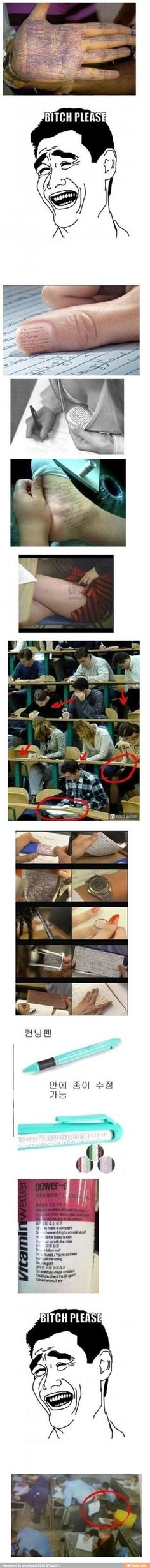 haha ohh the lengths one will go to for cheating on tests.