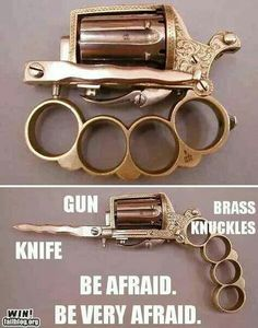 By Andrew Liszewski This may look like another steampunk creation cooked up by someone desperately . Read more Bayonet + Brass Knuckles + Handgun = The Apache My Champion, Cool Guns, Guns And Ammo, Zombie Apocalypse, Apocalypse Survival, Apocalypse Character, Rifles, Hand Guns, Cool Stuff