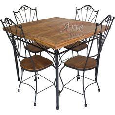 Conjunto Mesa + 4 Cadeiras em Madeira e Ferro - 4963    #artemoveisrusticos #arte #moveis #rusticos #moveisrusticos #mesadeferro #cadeiradeferro #conjuntoferro