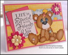 """""""Life's Special"""" Bear Greeting card created by Paper Piecing Memories by Babs"""