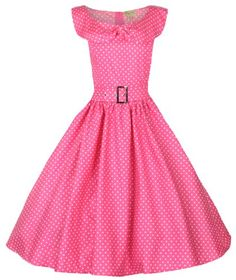 Lindy Bop 'Hetty' Polka Dot Bow Shawl Collar Vintage 1950's Rockabilly Swing Party Dress - Buy New: $46.99