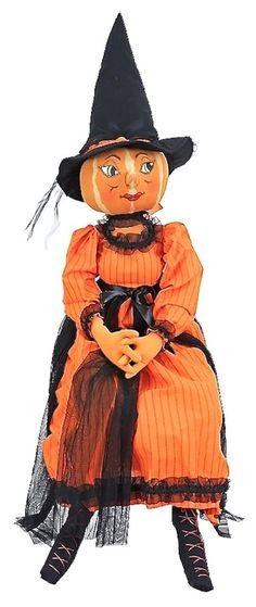 "JOE SPENCER FOLK ART PRIMITIVE *ISADORA* 46""  PUMPKIN WITCH DOLL HALLOWEEN NEW Halloween News, Halloween 2017, Happy Halloween, Halloween Party, Samhain, Pumpkin Carving, Carving Pumpkins, Primitive Autumn, Vintage Halloween Decorations"