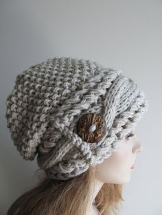 Slouchy Beanie Slouch Cable Hats Oversized Baggy Beret Button womens fall winter accessory Light Grey Linen Gray Super Chunky Hand Made Knit on Etsy, $59.99