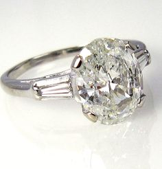 Rare..Estate Vintage 2.70ct Classic OVAL Cut Diamond EGL USA Engagement Ring in Platinum with Baguettes, Circa 1960