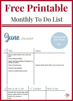 June To Do Checklist Free Printable to organize your home and life. Home Office Organization, Organization Hacks, Organization Ideas, Home Office Ideas For Women, Home Planner, Planner Ideas, Happy Planner, To Do Checklist, Home Maintenance Checklist
