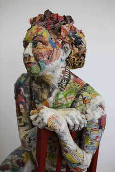Will Kertz - papier maché Paper Mache Sculpture, Art Sculpture, Paper Sculptures, 3d Portrait, Mannequin Art, Cardboard Art, Paperclay, Recycled Art, Figurative Art