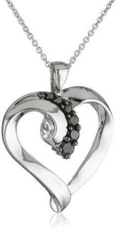 """Sterling Silver Black Diamond Heart Pendant Necklace (1/4 Cttw, I-J Color, I2-I3 Clarity), 18"""":Amazon:Jewelry"""