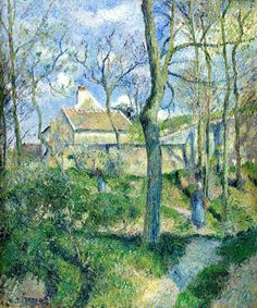"""""""The Path to Les Poutilleux, Pontoise"""" in 1881 by Pissarro (1830-1903). Oil on canvas (56x47cm). Los Angeles County Museum of Art. By the 1880s, Pissarro went back to painting the life of country people, which he had done in Venezuela in his youth. Degas described it as """"peasants working to make a living"""". Renoir referred as """"revolutionary,"""" in his attempt to portray the """"common man."""" This period marked the end of the Impressionist period due to Pissarro's leaving the movement."""
