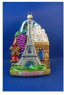 France, Eiffle Tower, Sacre Coeur, Arc de Triomphe Christmas ornament