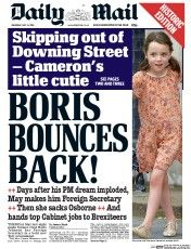 Daily Mail (UK) Newspaper Front Page for 14 July 2016