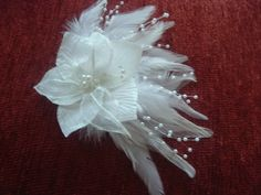WHITE or  IVORY Feathers BRIDAL Head Piece with Flower and Pearls Hair Clip Barrette