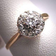 Diamante antico anello nuziale d'epoca vittoriana Art Déco