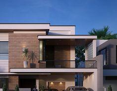 Zee Eem on Behance Modern Exterior House Designs, Latest House Designs, Modern House Plans, House Outside Design, House Front Design, Small House Design, Architect Design House, Architectural Design House Plans, 3 Storey House Design