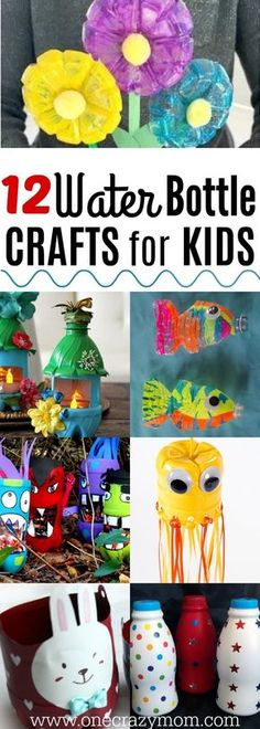 Water Bottle Crafts for Kids – Easy Plastic Bottle Crafts Find water bottle crafts for kids. 12 water bottle crafts for kids. They will love these plastic bottle craft ideas to keep them busy. Plastic bottle crafts are frugal and tons of fun for kids! Easy Plastic Bottle Crafts, Soda Bottle Crafts, Reuse Plastic Bottles, Recycled Bottles, Crafts With Water Bottles, Water Crafts, Upcycled Crafts, Diy And Crafts Sewing, Recycled Crafts For Kids