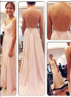 Gorgeous Custom Made Simple Prom Dress Online V-neck Long Chiffon Womans Evening Party Gowns_2015 Evening Dresses_Evening Dresses_Special Occasion Dresses