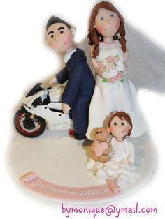 cake topper sposi con i bimbi - cake topper personalizzati - by Monique