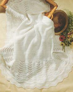 PDF Baby Shawl Knitting Pattern : Newborn Babies . Blanket . Pram or Cot Cover…