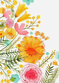 Margaret Berg Art: Pastel Florals #illustration #art