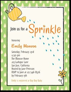 Cute and simple invitation featuring the watering can theme.