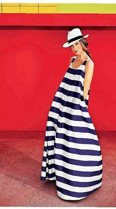 NAUTICAL NAVY BOLD HORIZONTAL STRIPE SUMMER BEACH TENT MAXI DRESS YACHT IBIZA 12