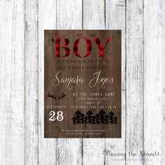 Lumber Jack Oh Boy Baby Shower Invitation Digital Download