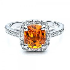 Custom Diamond and Orange Sapphire Engagement Ring  18K Platinum Ring  68 Diamonds - .29 ctw   Joseph Jewelry