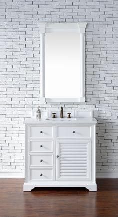 """Savannah 36"""" White Single Bathroom Vanity Soft-Close Door/Drawers"""