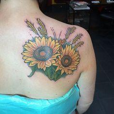 Sunflower tattoo. Wheat tattoo. Kansas tattoo.
