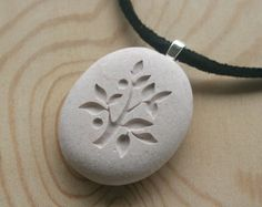 tree of life engraved pebble pendant, $20, sjengraving