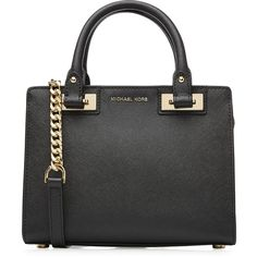 Designer Clothes, Shoes & Bags for Women Leather Satchel Handbags, Black Leather Satchel, Black Purses, Handbags Michael Kors, Black Handbags, Shoe Bag, Polyvore, Stuff To Buy, Accessories