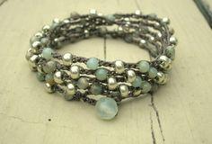 Bohemian beaded wrap bracelet - Driftwood - Boho crocheted jewelry, long necklace, aqua terra jasper, silver, aqua. $38.00, via Etsy.
