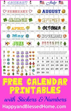 Super cute and fun Calendar printables with FREE Calendar Stickers and a traceable version. Perfect for back to school and teaching young children. From HappyandBlessedHo. Calendar Stickers, Calendar Time, Free Printable Calendar, Printable Stickers, Printable Planner, Planner Stickers, Free Printables, Calendar Numbers, 2015 Calendar