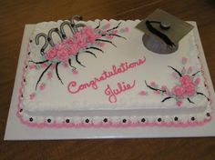 High School Graduation Cakes | half sheet cake decorated for a high school graduation