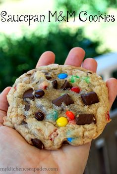 These are monster M&M cookies! They are the best recipe because they are chewy perfection and loaded with chocolate chips, chunks and m&m's