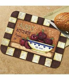 Personalized Cutting Board - Apples by Personal Creations. $29.99. A Lovely Accent For Any Kitchen! Tempered Glass Cutting Board Is Dishwasher Safe. We Personalize All Items With Any Name, Up To 12 Characters. Measures 15 1/4â?L X 11â?W. Items Cannot Be Gift Boxed. The Apostrophe S Will Automatically Appear On This Design.