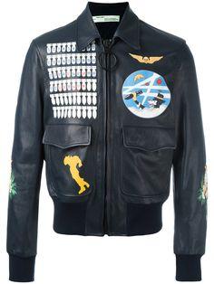Shop Off-White multi prints leather jacket.