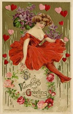 vintage Valentine postcard. hearts, roses, lady in red frills.
