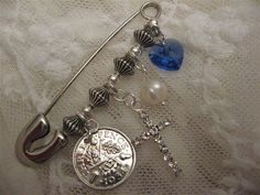 Handmade Wedding Keepsake Pin - with CROSS for RELIGIOUS SERVICE Something Old, New, Borrowed and Blue on Etsy, £20.00