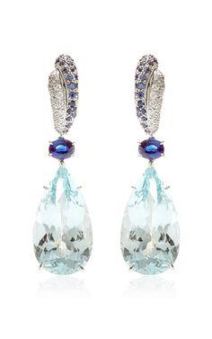 Aquamarine, Sapphires, And Diamonds Drop Earrings by Gioia