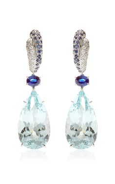 Aquamarine, Sapphires, And Diamonds Drop Earrings by Gioia for Preorder on Moda Operandi