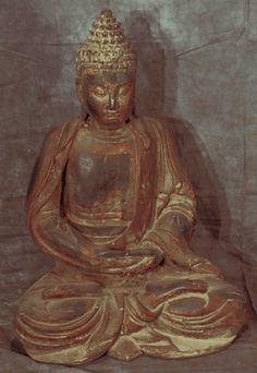 Asian Decor: Large Carved Wooden Buddha Statue from Hebei, China