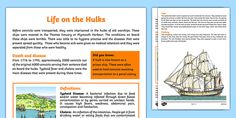 The First Fleet- Life on the Hulks. This is a wonderful resource to teach children about the food, clothing, treatment and diseases experienced by the convicts before coming to Australian in the First Fleet. First Fleet, Australian Curriculum, Reading Passages, Classroom Displays, First Contact, Teaching Kids, Geography, The One, History
