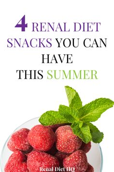 Looking for renal diet snacks that make great treats to enjoy in the summertime? Give these 4 kidney friendly snacks a try, as they're perfect for the summer and will help you stick with your kidney disease diet! From frozen fruits to other renal diet desserts, you'll be sure to find some great summer renal diet snack recipes here!   Kidney Diet Snacks   Chronic Kidney Disease Diet Snacks #KidneyDiseaseDiet #RenalDiet #ChronicKidneyDisease #KidneyDiet #KidneyDisease